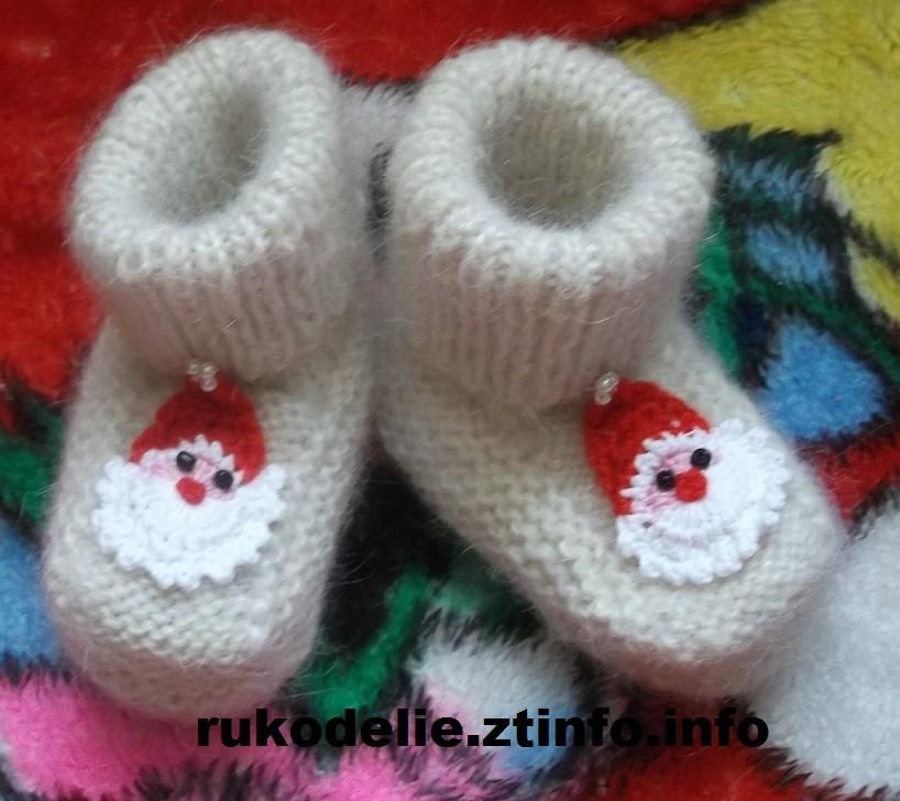 мир рукоделия новогодние носочки дед мороз спицами