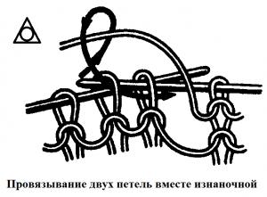 Провязывание двух петель вместе изнаночной