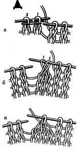 Провязывание трех петель вместе способом перестановки