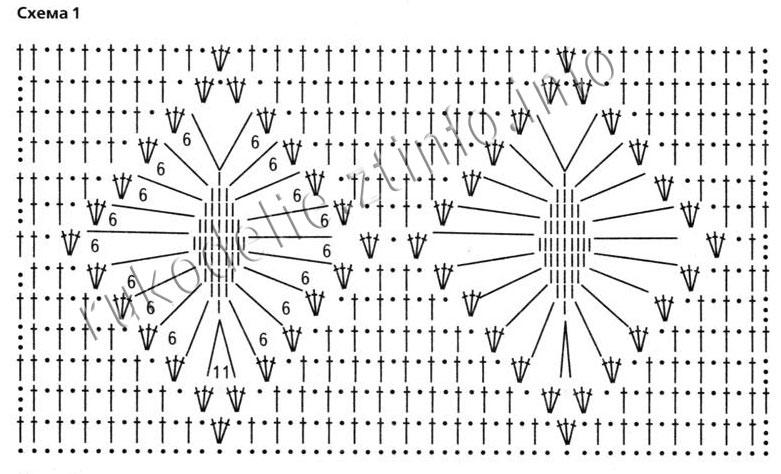 Узор ромб схема крючком