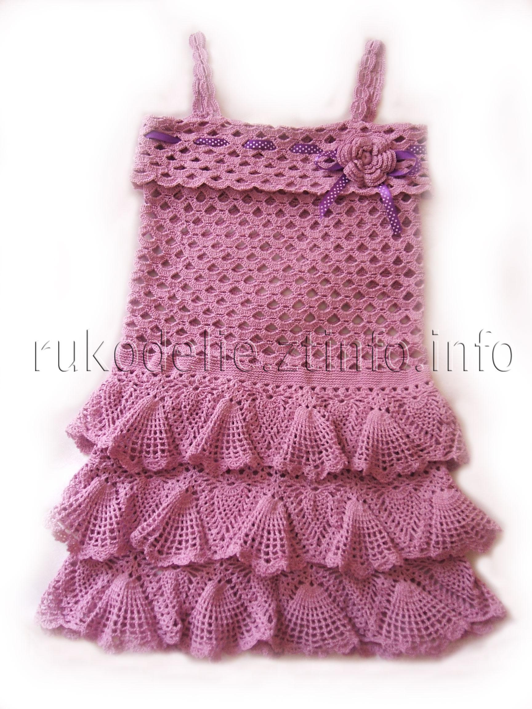 мир рукоделия ажурное платье с оборками крючком для девочки 6 7 лет
