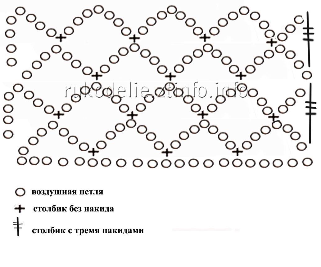 Схема косой сетки крючком