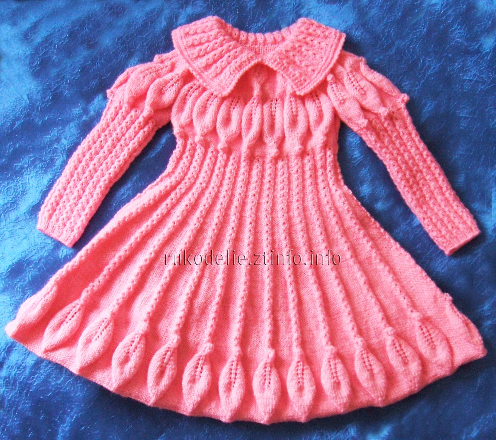 Вязанные платья для девочек двух лет спицами
