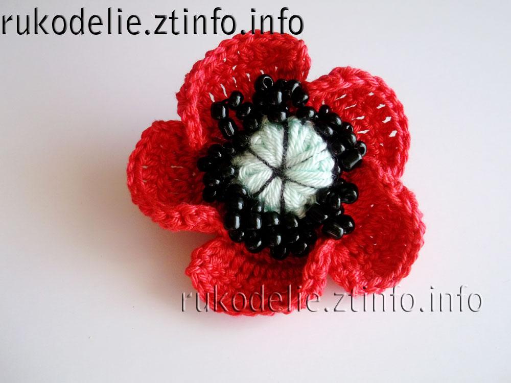Маки вязаные крючком цветы