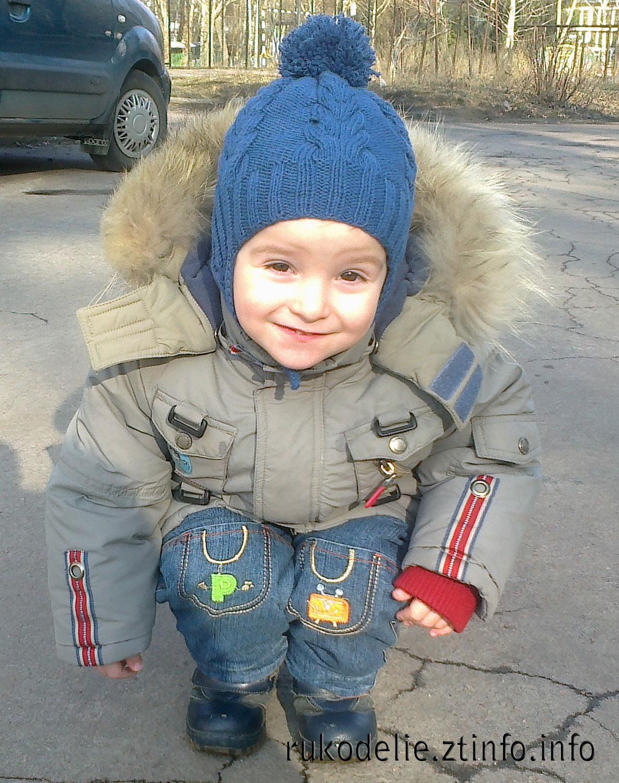 мир рукоделия шапочка с ушками для мальчика 2 3 лет вязаная спицами