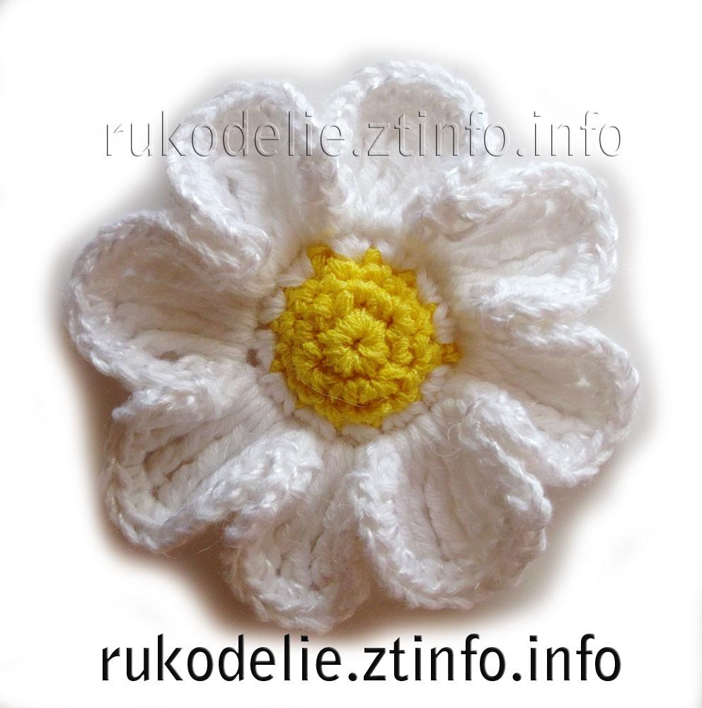 мир рукоделия цветок ромашка крючком