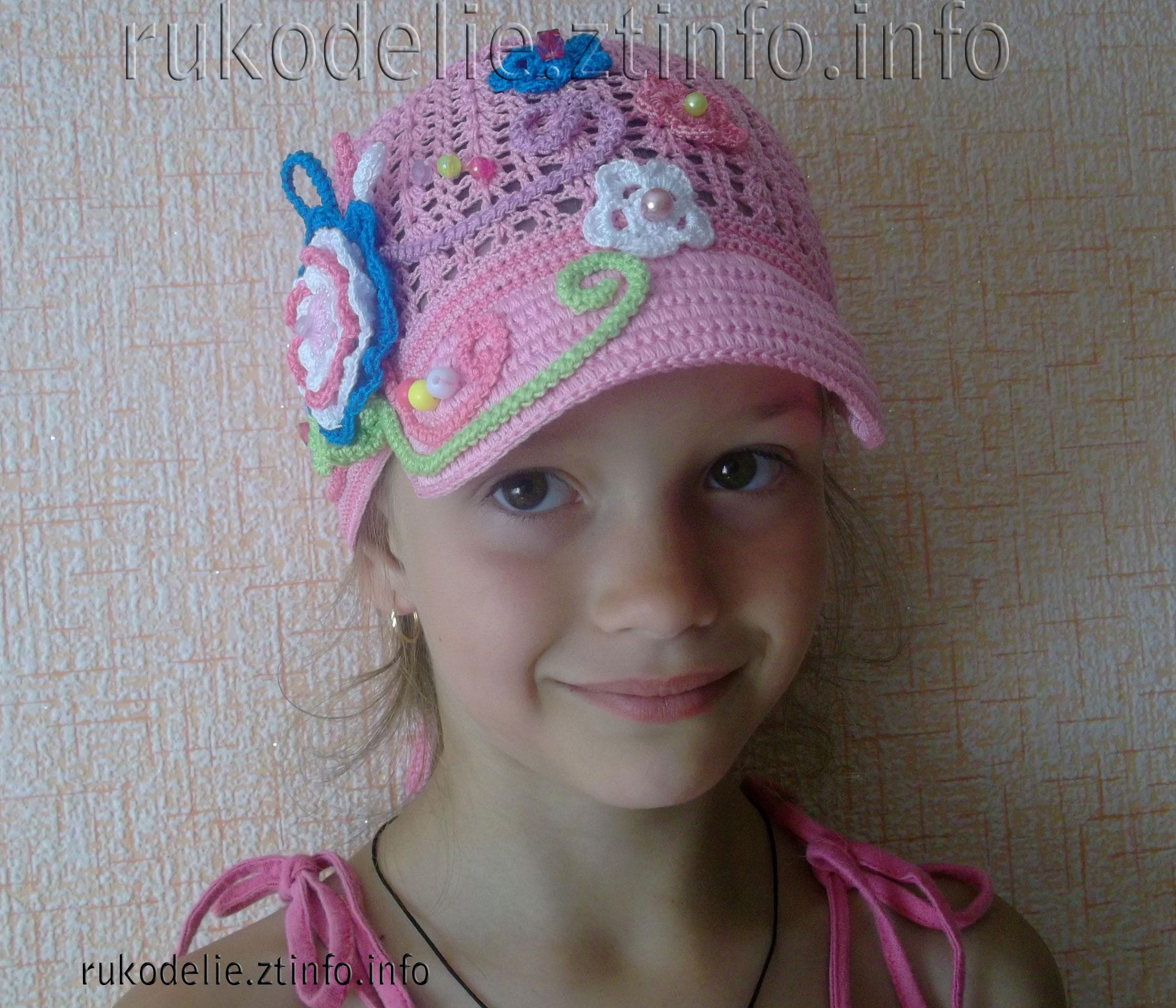 вязанная шапка для девочки на осень схема