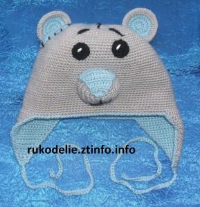 Детская шапочка Мишка Тедди вязанная крючком
