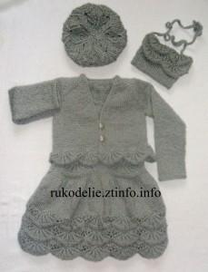 Вязаный комплект для девочки 2-х лет Маленькая модница